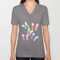 Butterfly pink azalea in pastel color stripes background. Floral botanical graphic art. Unisex V-Neck