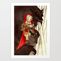 Little Red and the Wolf Art Print