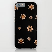 iPhone & iPod Case featuring Snowflakes (Orange on Black) by Paul James Farr
