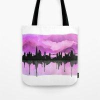 Aubergine London Skyline 2 Tote Bag