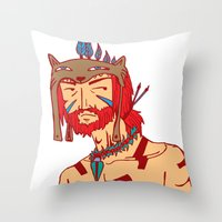Tribal Man Throw Pillow