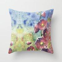 Hollyhocks - Pink Flower… Throw Pillow
