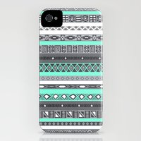 iPhone 4s & iPhone 4 Cases featuring Tiffany Turquoise Aztec Print by RexLambo