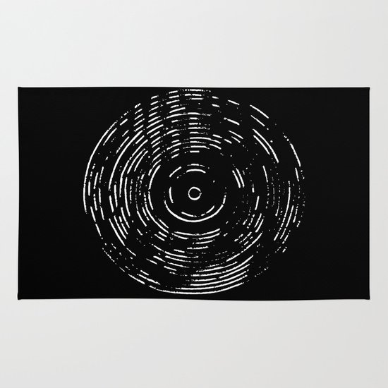 Record White on Black Area & Throw Rug