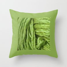 Spring Green Yarn Throw Pillow