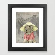 Shar Pei On The Great Wa… Framed Art Print