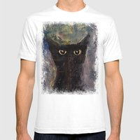 Ninja Cat Mens Fitted Tee White SMALL