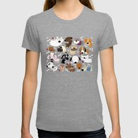 Dog Pattern Womens Fitted Tee Tri-Grey SMALL