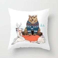 Bear Sleigh Throw Pillow