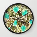 Tropical Wanderlust – Turquoise & Olive Wall Clock