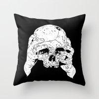 Skull In Hands Throw Pillow