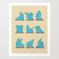 Elephant Yoga Art Print