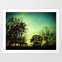 Orange Green Blue Sky Art Print