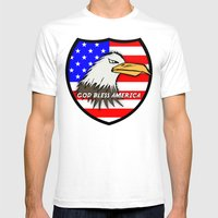 God Bless America Mens Fitted Tee White SMALL