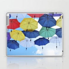 many colorful hanged umbrella against blue sky Laptop & iPad Skin