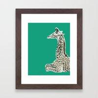 Giraffe in Green Framed Art Print