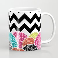 Tropical Flowers Chevron Mug