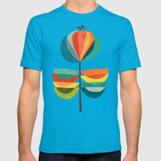 Whimsical Bloom Mens Fitted Tee Teal SMALL