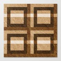 Brown Block Pixel Pattern Canvas Print