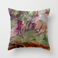 Abstract Purple Green Sk… Throw Pillow