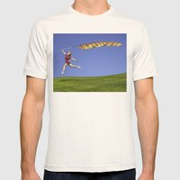 Freedom - A young girl jumping with a colorful kite banner on a clear blue sky day Mens Fitted Tee Natural SMALL