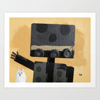 Happy Robot Happy Cat Art Print