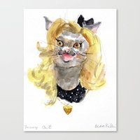 Canvas Print featuring Fancy Cat by Becca Kallem