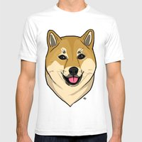 Shiba Inu Mens Fitted Tee White SMALL