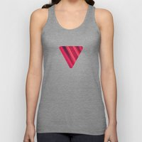 Modern Red / Black Stripe Abstract Stream Lines Texture Design (Symmetric edition) Unisex Tank Top