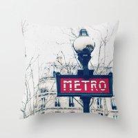 Paris Metro Sign Throw Pillow
