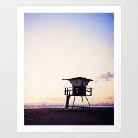 Vintage Lifeguard Tower Silhouette at Sunset, Sunset Beach, California Art Print