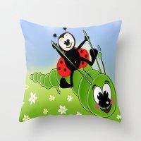 Ladybug And Caterpillar Throw Pillow