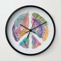 Feathers for Peace (Peace Sign) Wall Clock