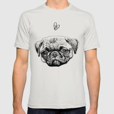 PUG LOVE Mens Fitted Tee Silver SMALL