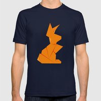 Origami Hare Mens Fitted Tee Navy SMALL