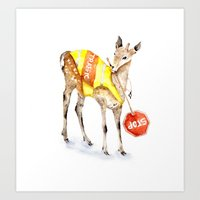 Traffic Controller Deer in High Visibility Vest Art Print