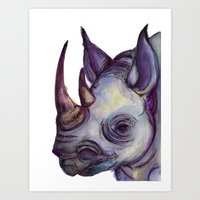 Rhino Blues Art Print