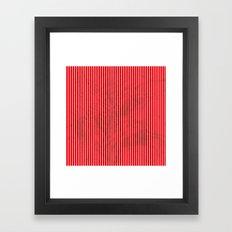 Red grunge stripes on white background Framed Art Print