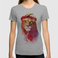 Gym Lion Womens Fitted Tee Athletic Grey MEDIUM