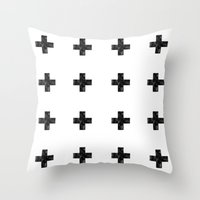 Watercolor Swiss Cross (White) Throw Pillow