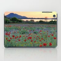 Red Poppies. Sunset at the lake iPad Case