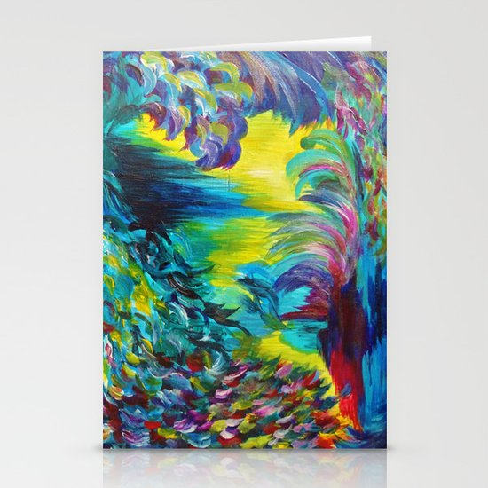 FLIGHT ON TAP - Whimsical Colorful Feathers Fountain Peacock Abstract Acrylic Painting Purple Teal Stationery Card