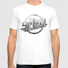 The Strokes Logo New York Black And White Mens Fitted Tee White SMALL