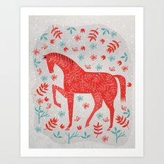 The Red Horse Art Print