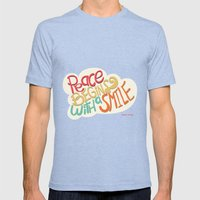 Peace Begins With A Smil… Mens Fitted Tee Tri-Blue SMALL