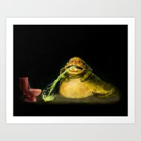 Star Wars Jabba the Hutt Barfed his Guts all the way down to Pizza Hut  Art Print