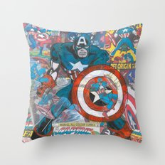 Vintage Comic Capt Ameri… Throw Pillow