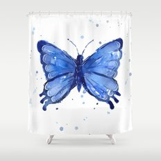 Butterfly Watercolor Blue Painting Shower Curtain