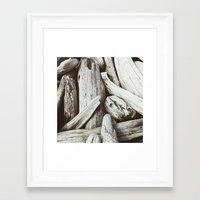 Driftwood Pattern Beach … Framed Art Print