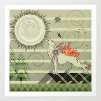 A Wolf On Fire Amaterasu Art Print